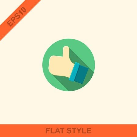 flat style with long shadows, thumbs up vector icon illustration.