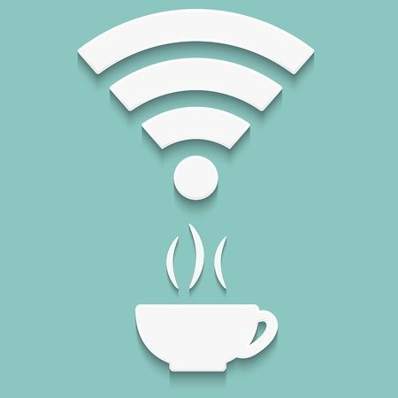 ector icons of wifi with a cup and shadow
